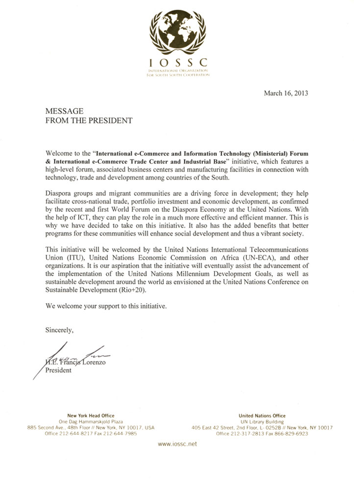 IOSSC Chairman approval letter